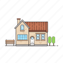bench, building, house, mansion, shack, tree icon