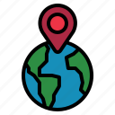 globe, location, pin icon