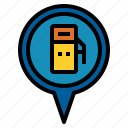 gas, pin icon