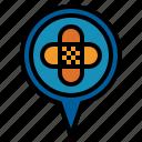 hospital, pin icon