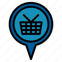 market, pin, shopping icon