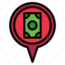 bank, location, pin icon