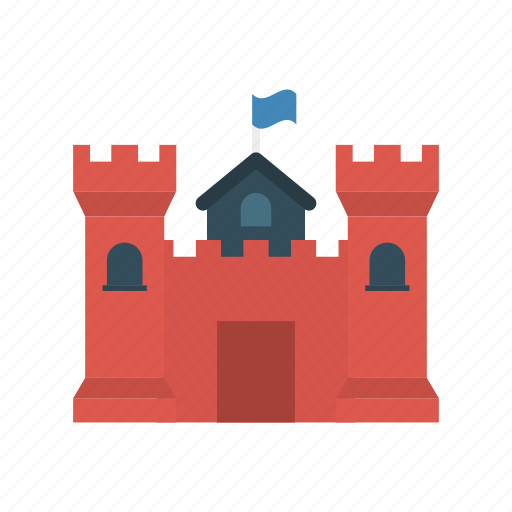 building, castle, fortress, medieval icon