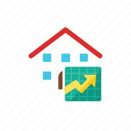 graph, house icon