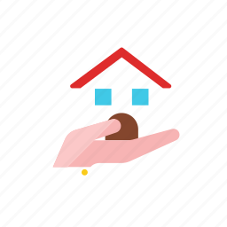 hand, house icon