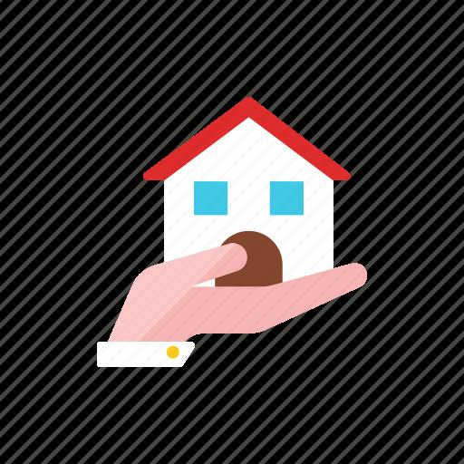 hand, house icon