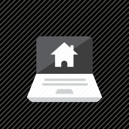 house, laptop icon