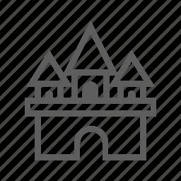 building, house, landmark, residental, stroke, travel icon