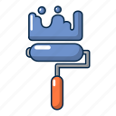 cartoon, paint, roll, object, coverage, brush, construction icon
