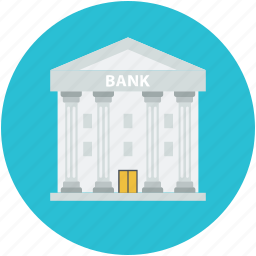 bank building, building, building exterior, building front, financial center icon