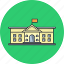 building, college, flag, government, museum, school, university