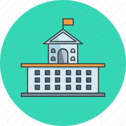 building, college, flag, government, office, school, university icon