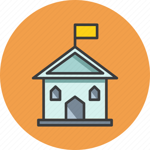 building, college, flag, government, museum, office, school icon