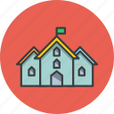 building, college, flag, hotel, museum, school, university icon