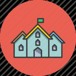 building, college, flag, hotel, museum, school, university icon