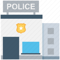 building, building exterior, police department, police station, public safety center icon