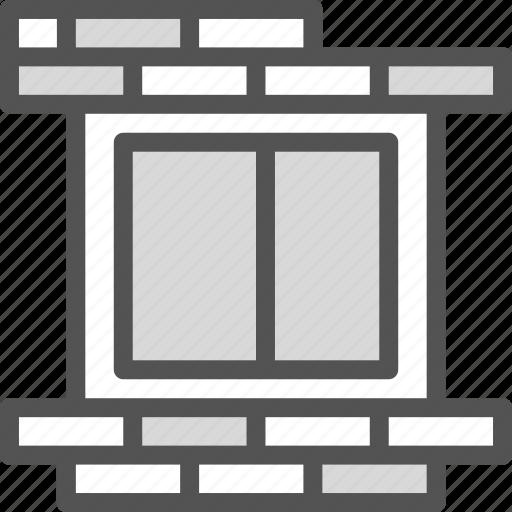 brick, condo, wall, window icon