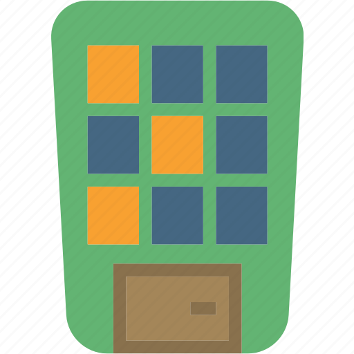 block, building, comic, playful, round icon