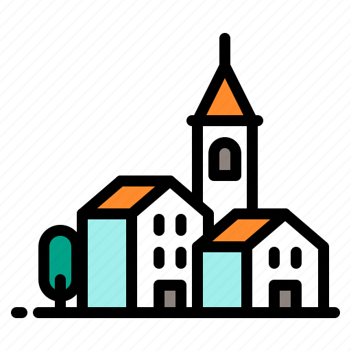 building, church, city, houses, tower icon