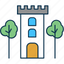 castle, castle building, castle tower, castle with trees, farmhouse, farmhouse building icon