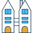 building, city building, flats, office block, residency flats icon