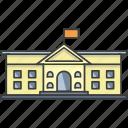 building, college, flag, government, museum, school, university icon