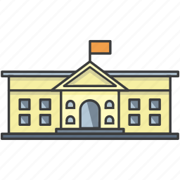 building, college, flag, government, museum, school, university icon
