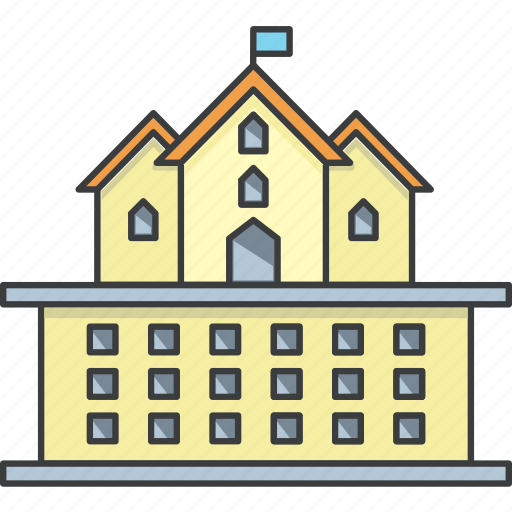 building, college, flag, government office, hotel, palace, university icon