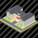 arcade, condominium, residential building, university, university building icon