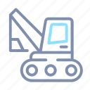 building, construction, equipment, excavator, heavy, machinery, vehicle icon