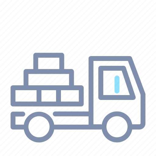 building, construction, delivery, flatbed, transportation, truck, vehicle icon