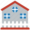 architecture, building, buildings, farm, fenced, house icon