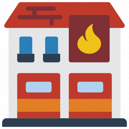 architecture, building, buildings, fire, station icon