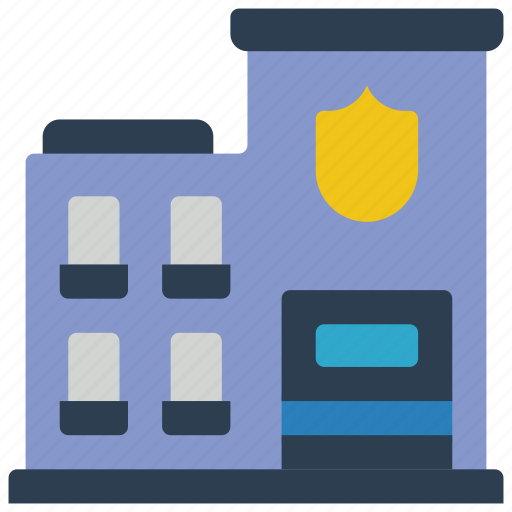 architecture, building, buildings, police, station icon