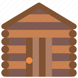 architecture, building, buildings, cabin, log icon