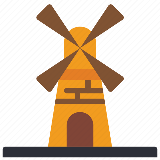 architecture, building, buildings, farm, mill, wind icon
