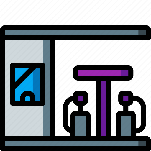 architecture, building, buildings, filling, gas, petrol, station icon
