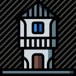architecture, building, buildings, house, tudor icon