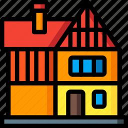 architecture, building, buildings, home, house, tudor icon