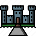 architecture, building, buildings, castle, moat icon