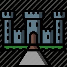 architecture, building, buildings, castle, moat icon