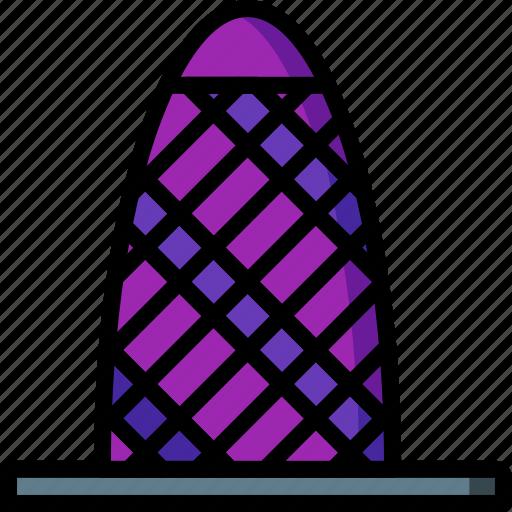 architecture, building, buildings, gerkin, skyscraper, tower icon