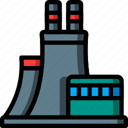architecture, building, buildings, factory, nuclear, power, station icon