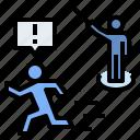 attack, escape, expel, naughty, security guard, violation icon