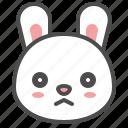 animal, avatar, bunny, emoji, frown, rabbit icon