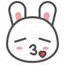 animal, avatar, bunny, emoji, kiss, rabbit icon