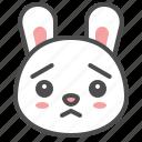 animal, avatar, bunny, emoji, rabbit, worried icon