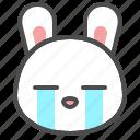 animal, avatar, bunny, cry, emoji, rabbit icon