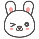 animal, avatar, bunny, emoji, rabbit, wink icon