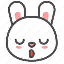 animal, avatar, bunny, emoji, rabbit, sleepy icon